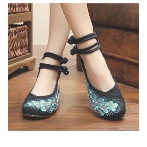 Shoes - peacock feathers embroidery prom shoes